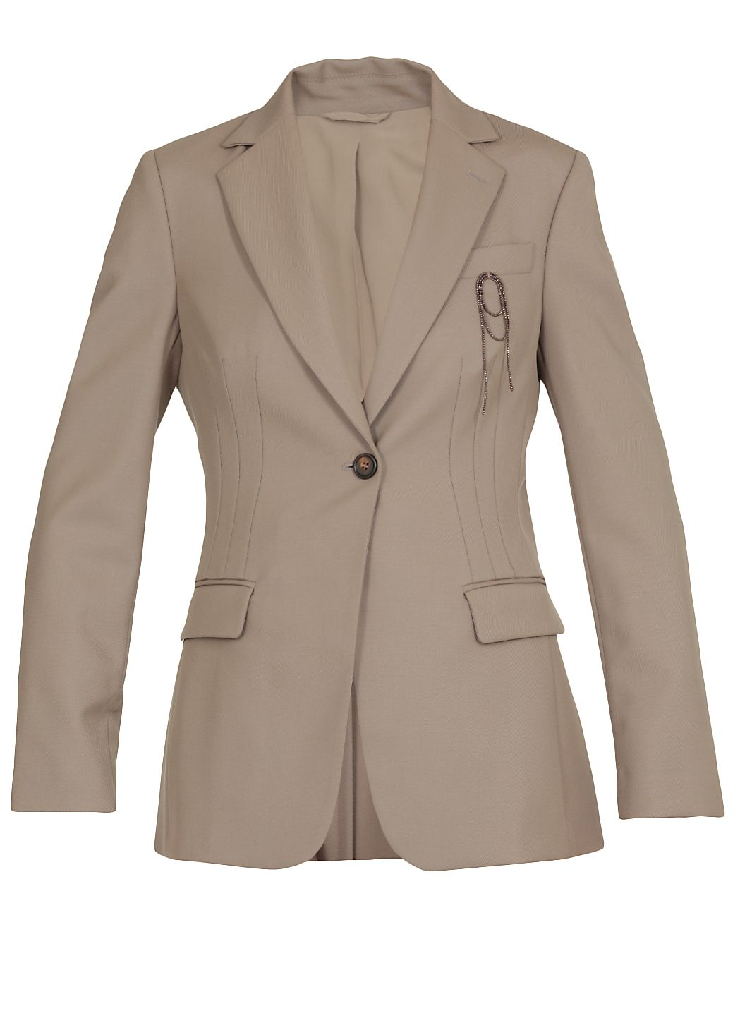 Hip-length jacket with brooch