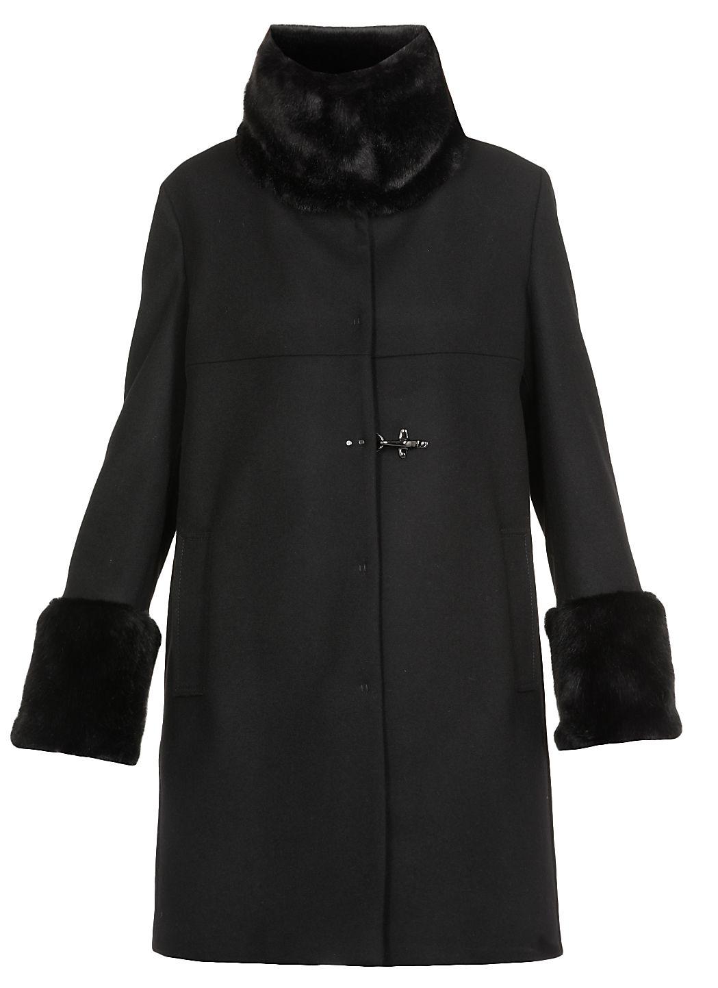 Cappotto in misto lana con eco pelliccia