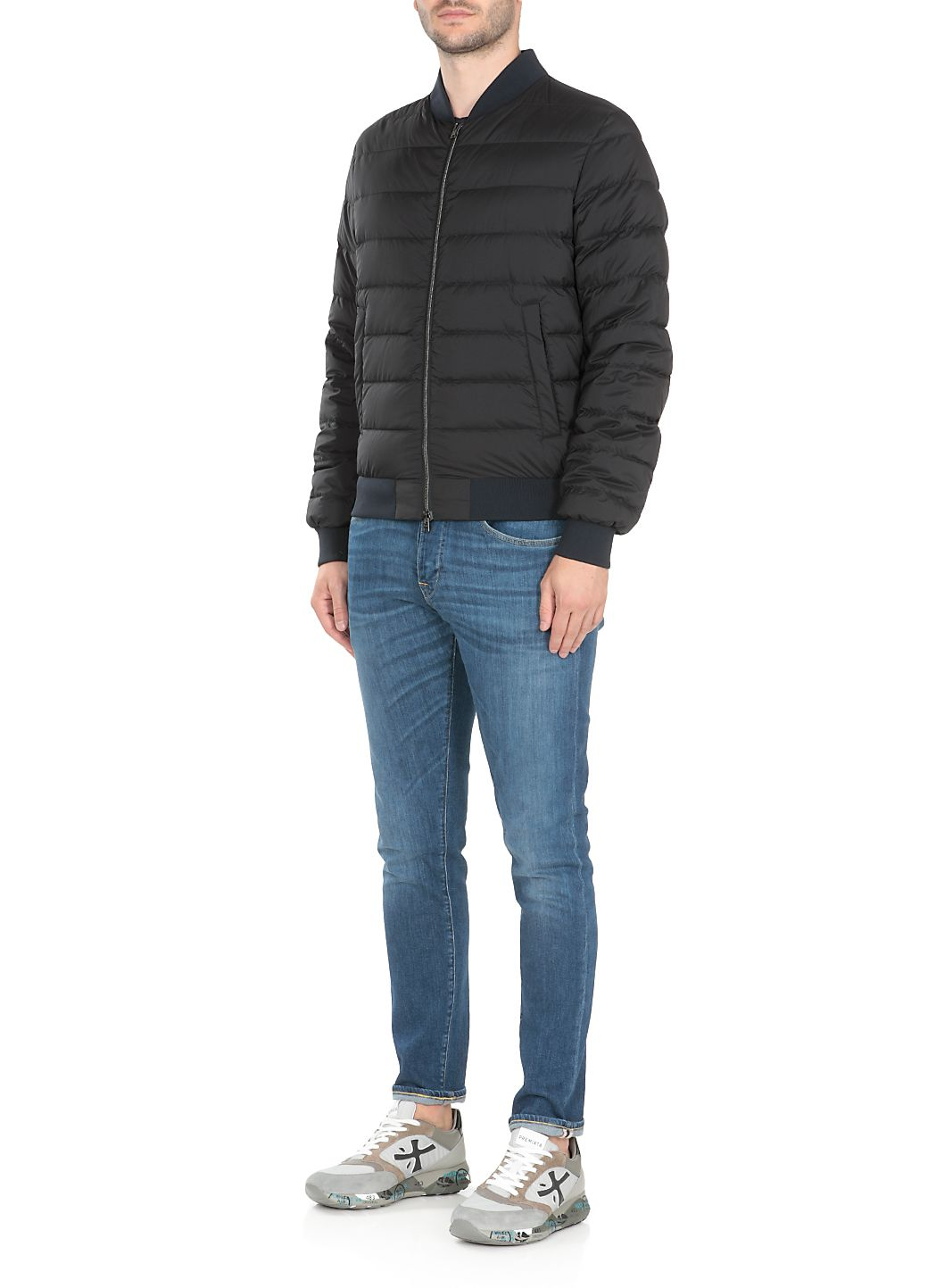 Quilted and padded down jacket