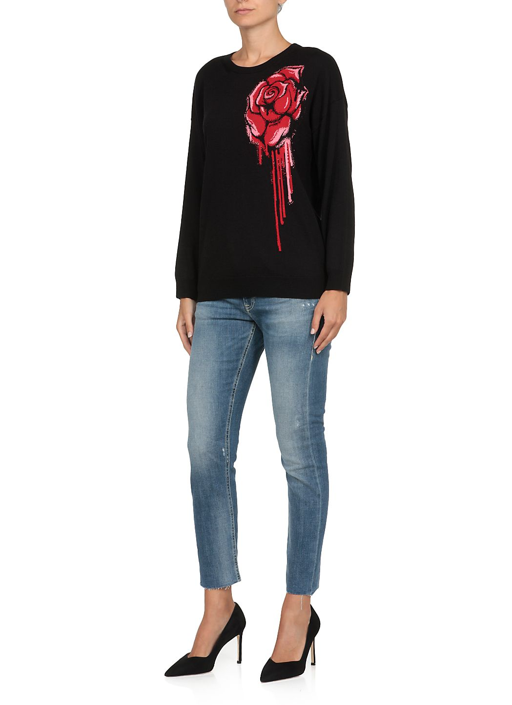 Sweater with Embroidered Rose