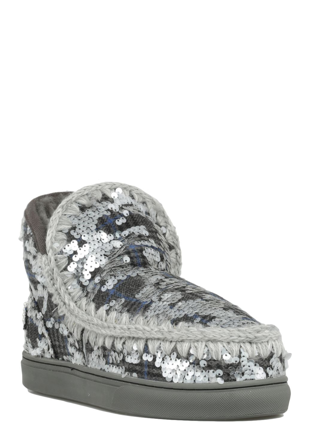 Eskimo Sneaker wool plaid & sequins