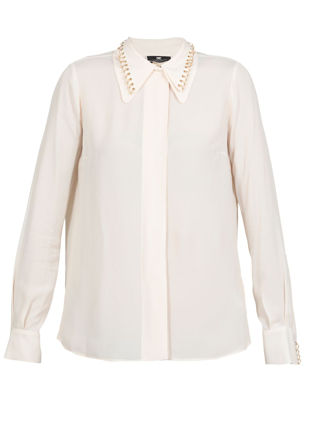 Camicia in viscosa con borchie light gold