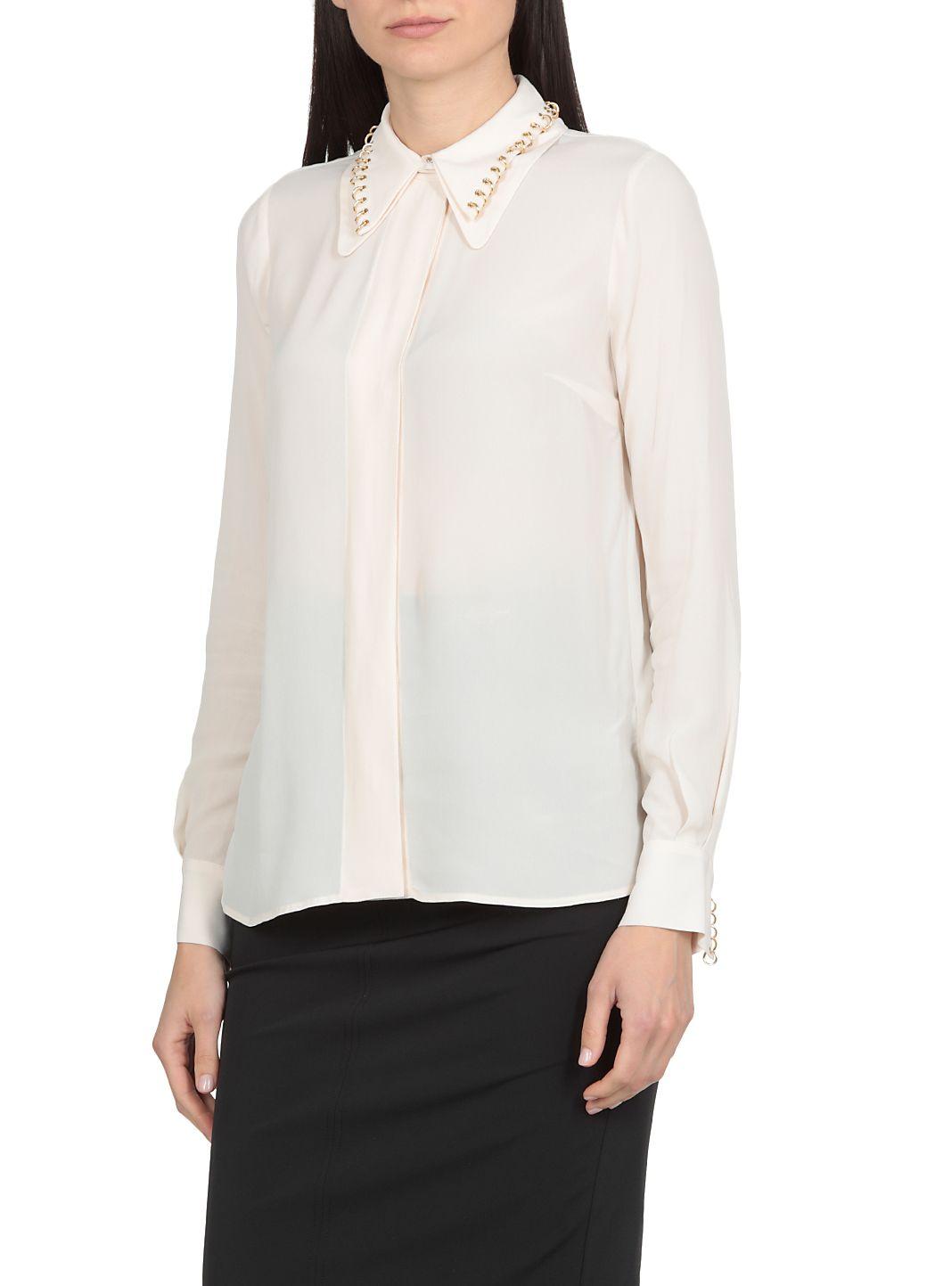 Camicia in viscosa con borchie light gold