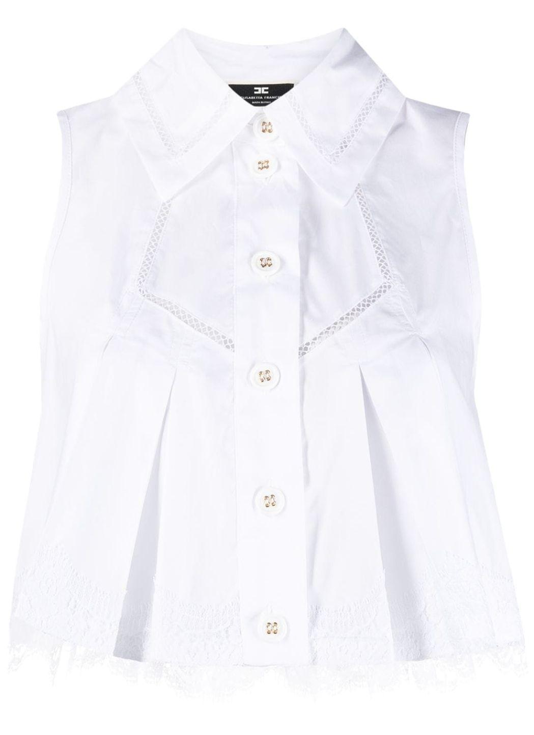 Camicia cropped in popeline di cotone