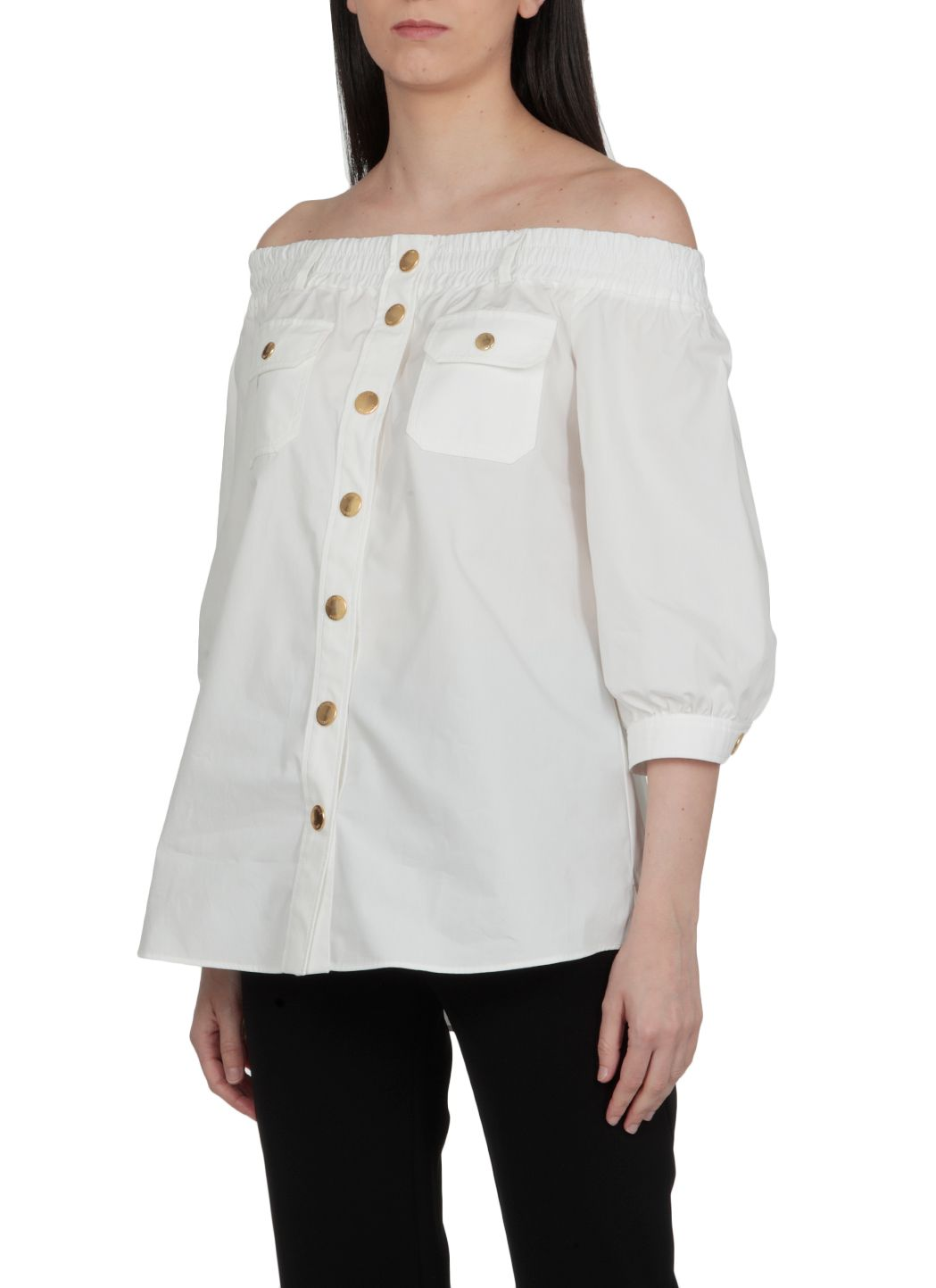 Camicia off-the-shoulder in popeline