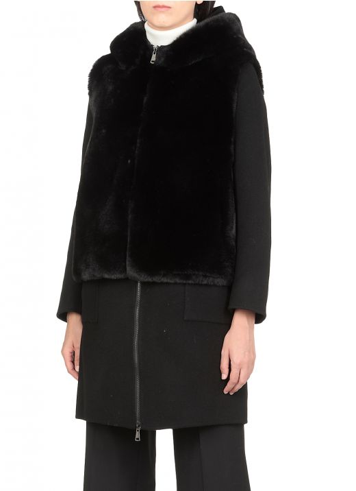 Coat with removable double trim