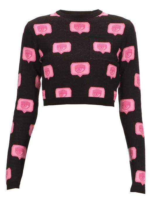 Cropped Eyelike sweater