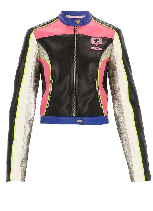 Eyelike leather jacket