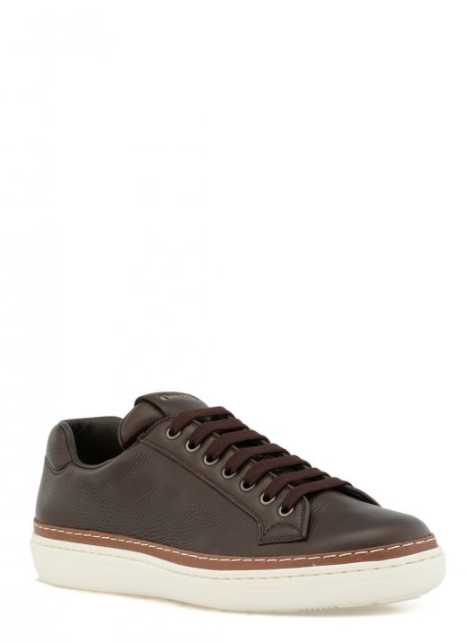 Pebbled leather sneaker