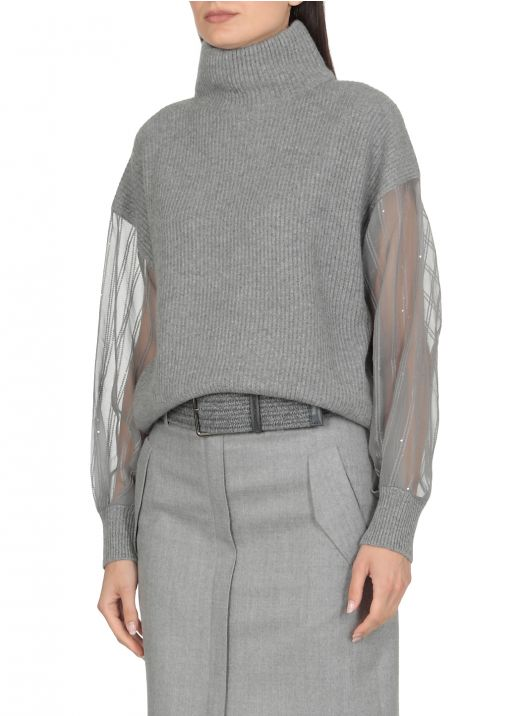 Cashmere Sweater with Dazzling Regimental Sleeves