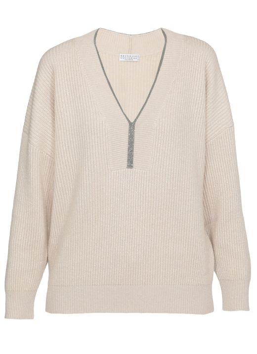 Cashmere sweater with Precious Trim