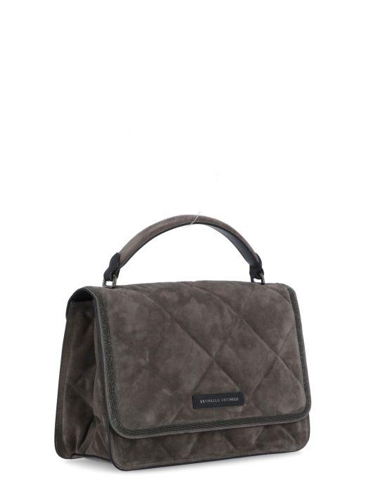 Matelass&#232 suede bag with 'Precious Contour'