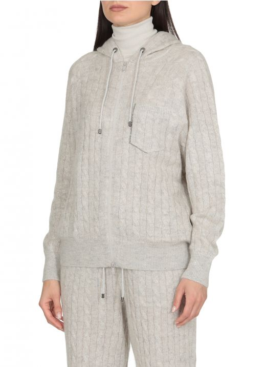 Hooded Mohair knitted cardigan