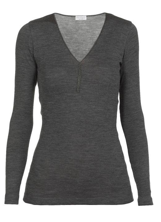 Virgin wool sweater with Precious Trim