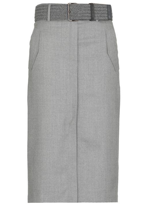 Belted virgin wool skirt