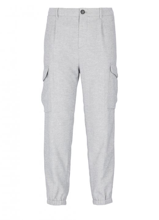 Cotton chevron flannel trousers with pleats