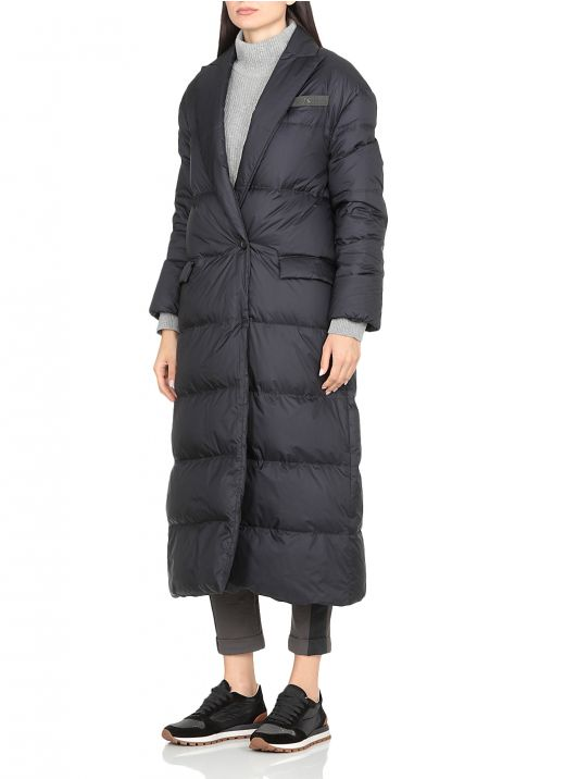 Long down jacket with diamond cut brass detailing