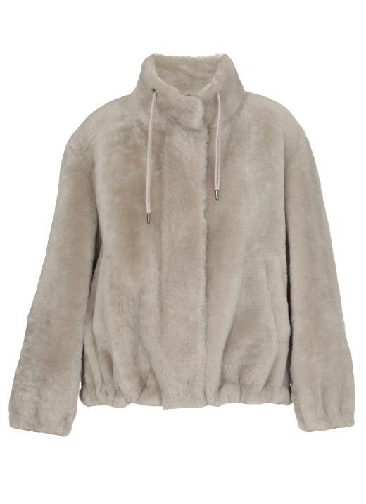 Shearling Soft Jacket with Shiny Drawstring Collar