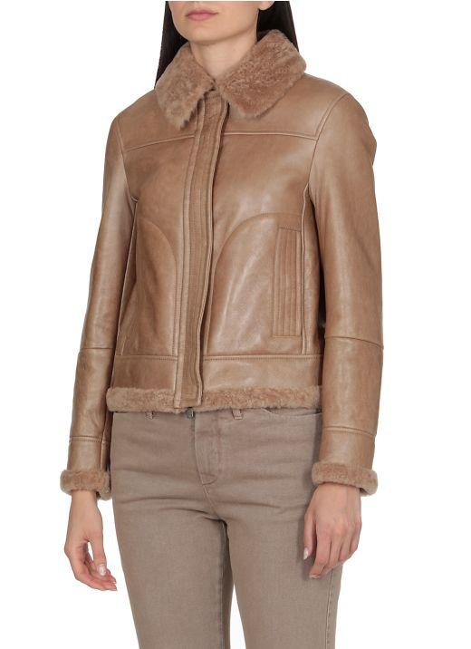 Leather and sheepskin jacket