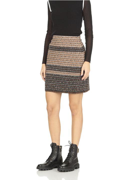 Wool blend mini skirt