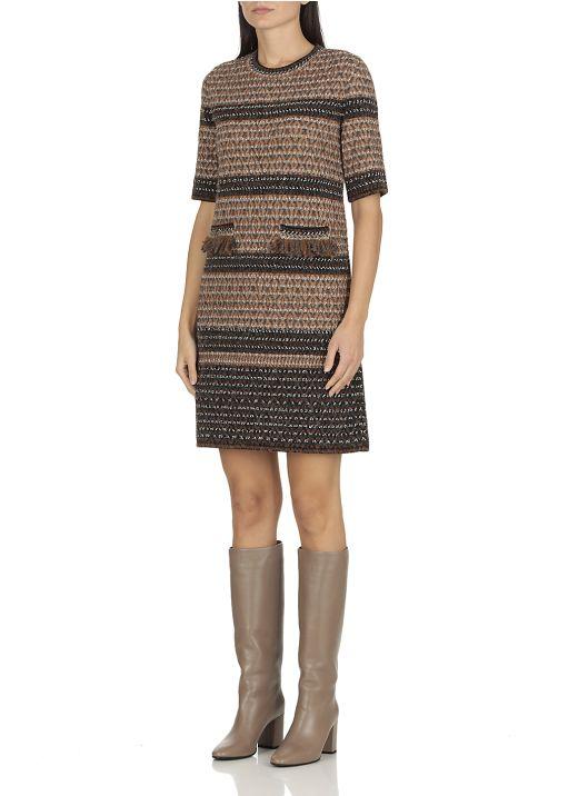 Wool blend knitted dress