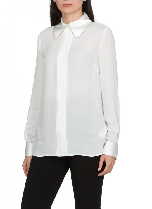 Crepe shirt with brightlight detail