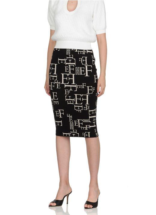 Logo Jaquard pencil skirt