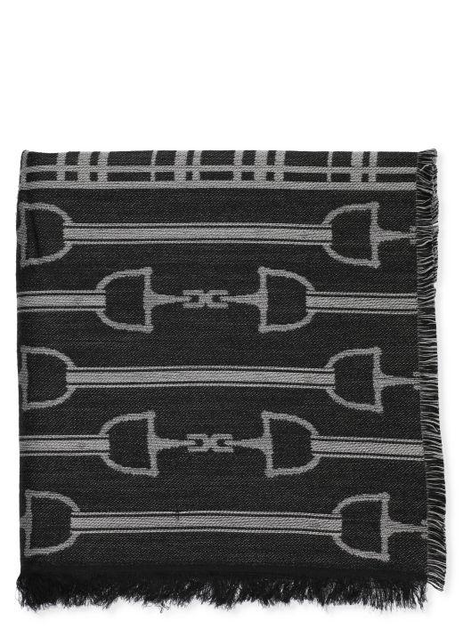 Jacquard cape with logo and tartan design