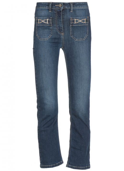 Flared jeans with golden clip