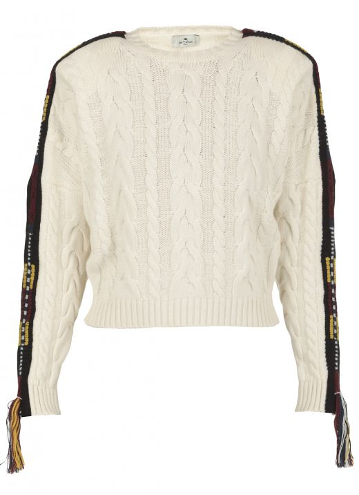 Sweater with jacquard ribbon and tessels