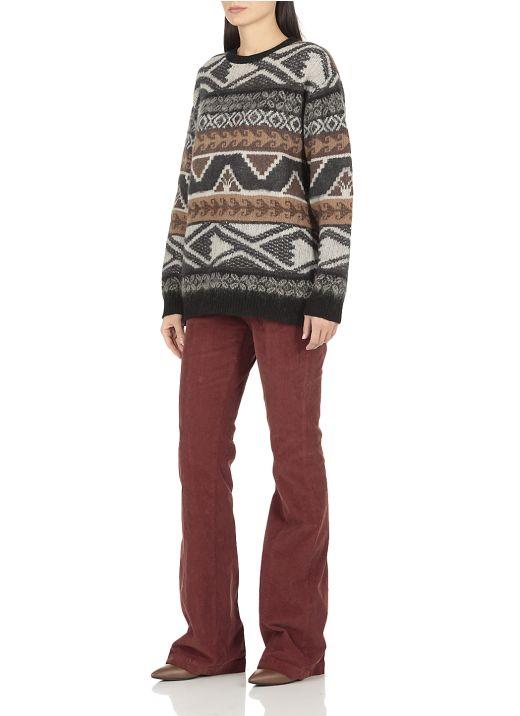 Gauzed jacquard sweater