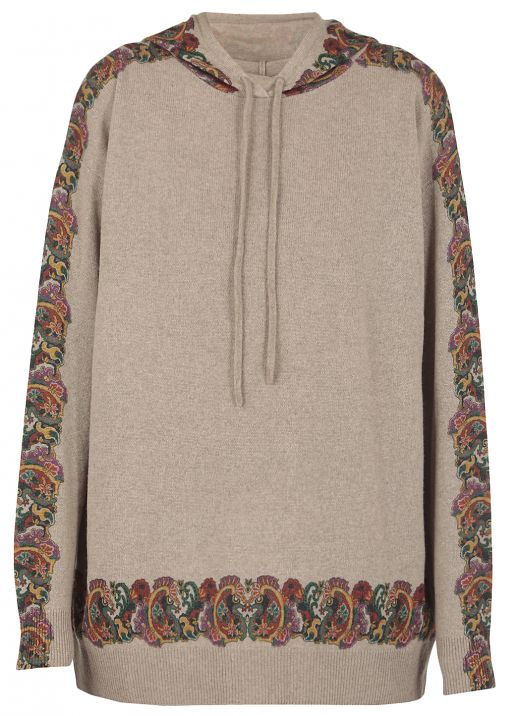 Knitted hoodie with Paisley print