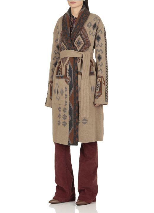 Jacquard coat with geometric pattern