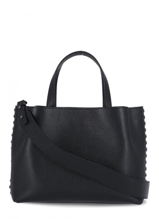 Leather bag with side brightlight detail