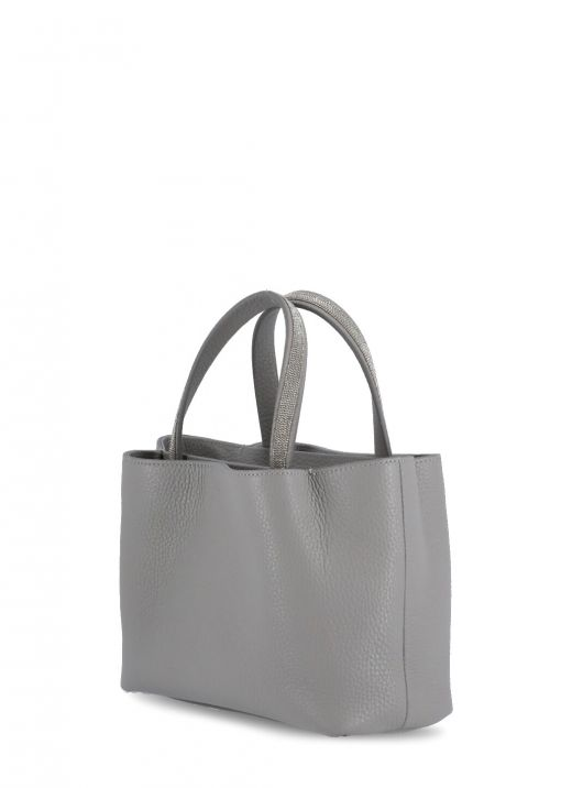 Leather bag with brightlight detail