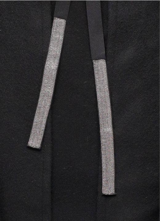 Wool fringed cape
