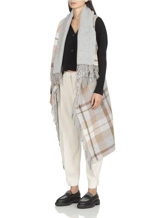 Wool check vest