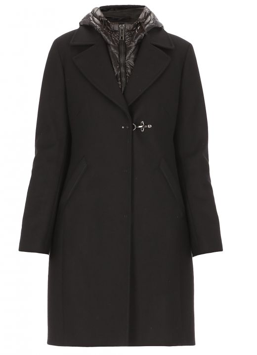 Wool blend mono-breasted coat