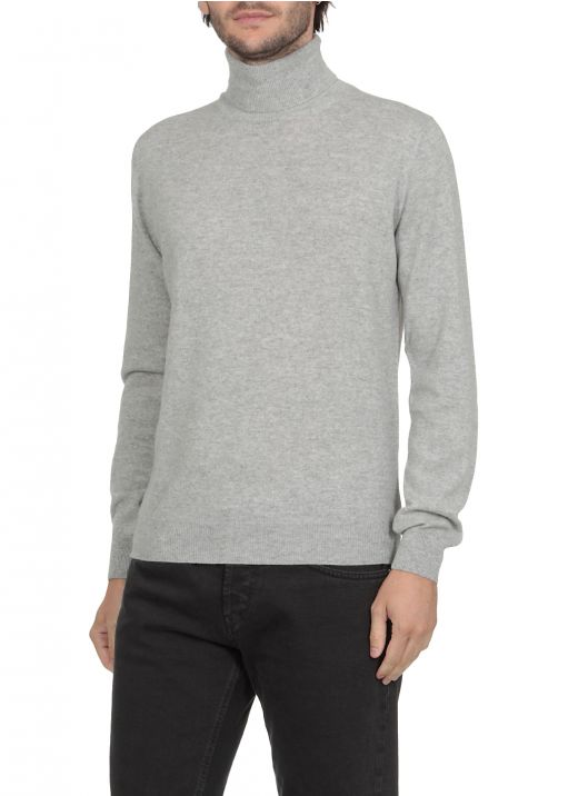 Merino wool and cashmere high neck sweater
