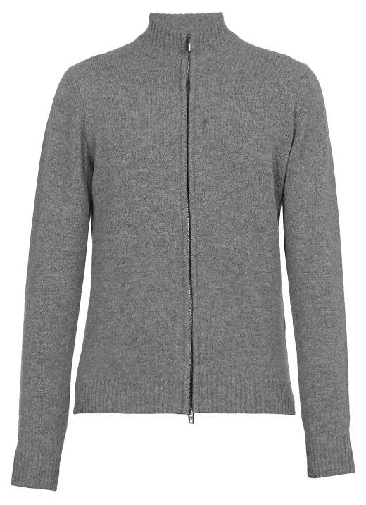 Merino wool and cashmere zip sweater
