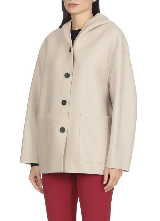 Wool coat with hood