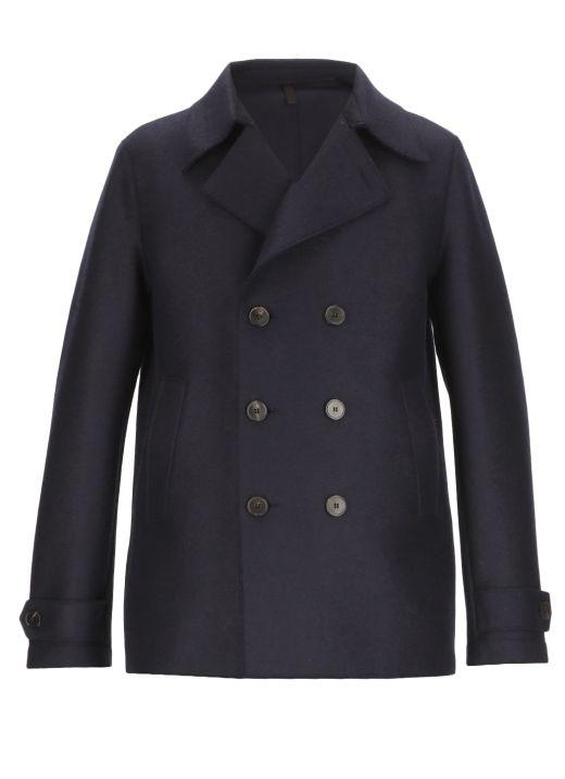 Virgin wool double-breasted coat