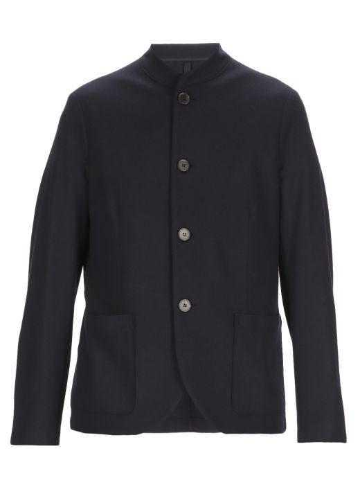 Virgin wool one-breasted coat