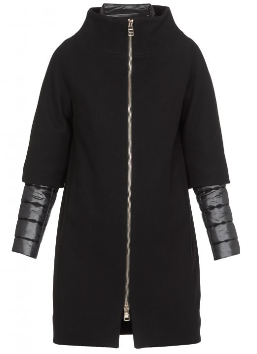 Wool coat with double trim