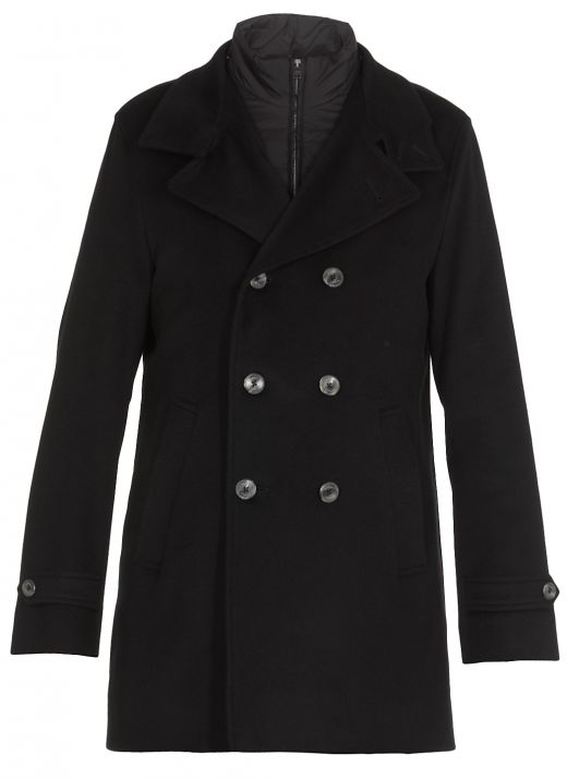 Wool and cashmere coat with double trim