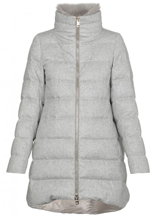 Silk and cashmere down jacket with fur collar