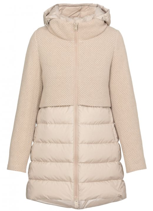 Padded down jacket with knitted panels