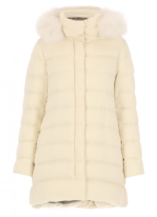Padded down jacket with fur