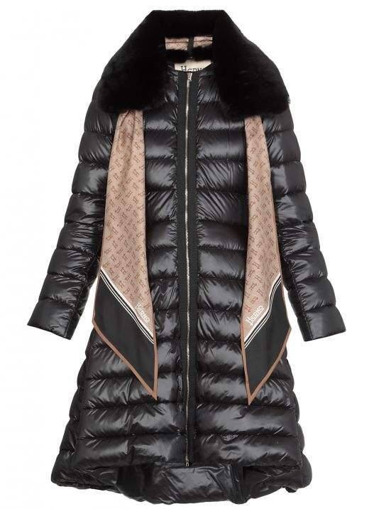 Down jacket with eco fur collar
