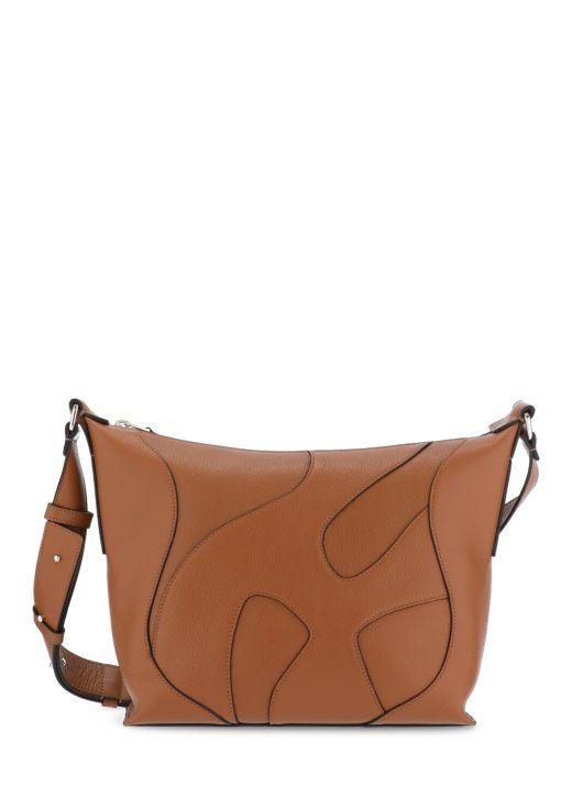 Peddled leather shoulder bag